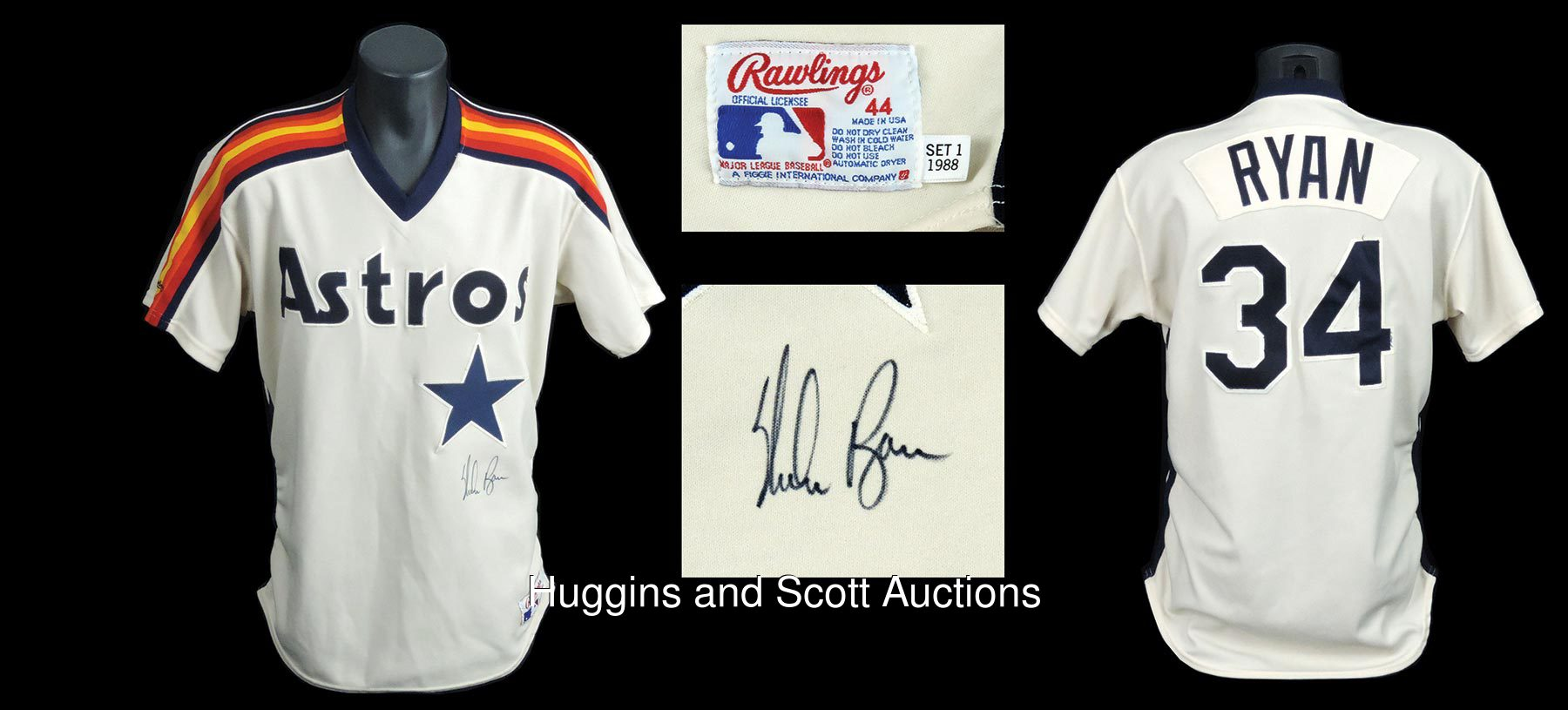 the latest b1ef5 5efcb Nolan Ryan 1988 Houston Astros Signed Game-Issued Jersey ...